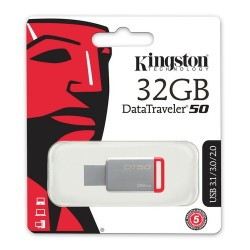 Kingston 32GB USB3.1 Memory DT50/32GB Metal/Kırmız